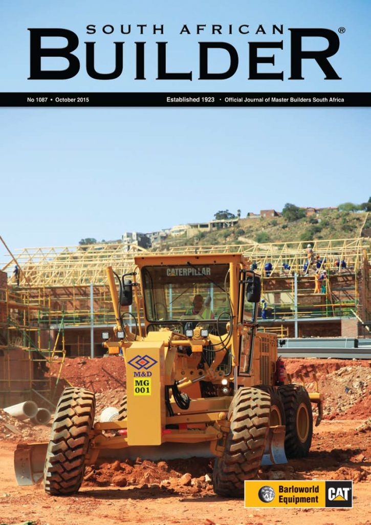 Cover of SA Builder, October 2015 Issue